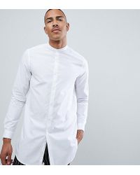 ASOS Tall Regular Fit Super Longline Shirt With Grandad Collar In White