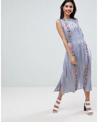 French Connection - Floral Embroidered Stripe Shirt Dress - Lyst