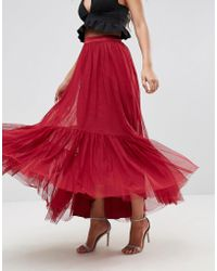ASOS - Asos Maxi Tulle Skirt With Tiered Hem - Lyst