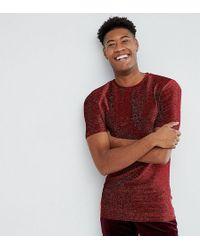 ASOS - T-shirt lunga attillata in tessuto metallizzato rosso - Lyst
