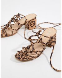 Public Desire - Freya Leopard Knot Detail Tie Up Heeled Sandals - Lyst