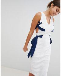 PrettyLittleThing - Contrast Tie Lace Midi Dress - Lyst