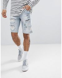 ASOS - Asos Denim Shorts In Slim Light Wash With Heavy Rips - Lyst