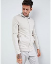 ASOS - Muscle Jersey Harrington Jacket In Beige With Tipping - Lyst