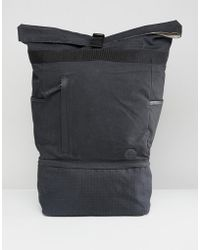 Timberland - Roll Top Backpack Ripstop Small Logo In Black - Lyst