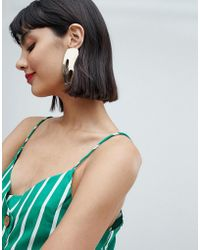 Mango - Gold Cut Out Shape Earrings In Gold - Lyst