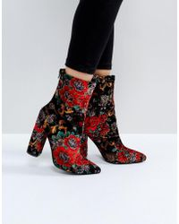 Public Desire - Clayton Embroidered Heeled Ankle Boots - Lyst