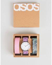 648ac3a1a756 ASOS - Reloj con pack de 3 correas intercambiables con estampado animal  sinttico de - Lyst