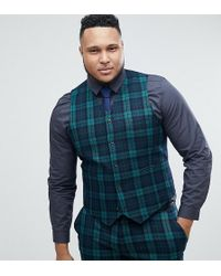 ASOS - Asos Plus Super Skinny Suit Waistcoat In Blackwatch Tartan - Lyst