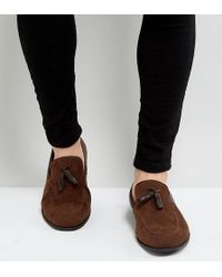 ASOS - Wide Fit Loafers In Brown Faux Suede With Tassel - Lyst