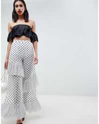 ASOS - Design Trousers In Polka Dot Spot Mesh With Frill Detail - Lyst