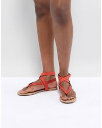 Call It Spring - Red Tie Up Flat Sandals - Lyst