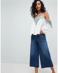 Free People - Vacay Vibin Embroidered Cold Shoulder Blouse - Lyst