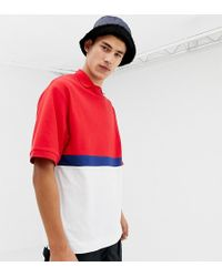 Collusion - Tall Color Blocked Polo In Blue And Red - Lyst