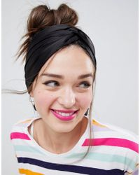 ASOS - Design Twist Block Headscarf In Black - Lyst