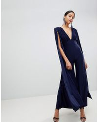 Club L | Power Shoulder Cape Sleeves Detailed Slinky Wide Leg Jumpsuit | Lyst