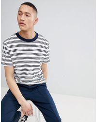 Mango - Man Fine Striped T-shirt In Navy - Lyst