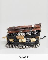 ALDO - Brown Cord & Beaded Bracelet In 5 Pack - Lyst