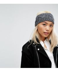 Stitch & Pieces - Knitted Cable Headband In Grey - Lyst