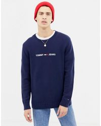 5146e48f37 Tommy Hilfiger - Regular Fit Jumper With Chest Logo In Navy - Lyst