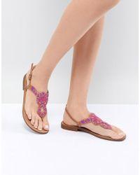 Pieces - Embellished Flat Sandal - Lyst