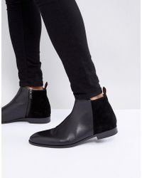 HUGO - Dressapp Suede And Leather Mix Zip Boots In Black - Lyst
