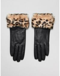 Barneys Originals - Real Leather Gloves With Faux Fur Leopard Print Trim - Lyst