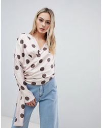 ASOS - Satin Drape Top With Side Button Detail In Spot - Lyst