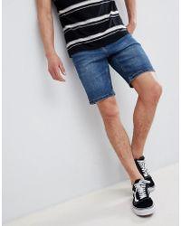 Bershka - Slim Fit Denim Shorts In Blue - Lyst