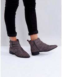 Miss Kg | Flat Stud Buckle Boots | Lyst