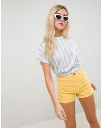 ASOS - T-shirt In Bright Stripe With Elasticated Hem - Lyst