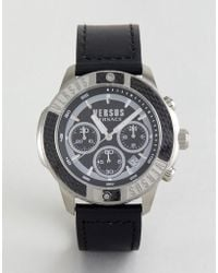 Versus - Sp3801 Admiralty Leather Watch In Black - Lyst