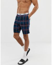 ASOS - Pyjama Shorts In Navy Check With Pink Highlight - Lyst