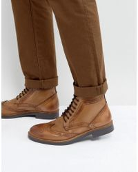 Frank Wright - Brogue Boots Tan Leather - Lyst