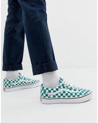 65d67dafbe4626 Vans Old Skool Checkerboard Trainers In Blue Va38g1p0u in Blue for ...