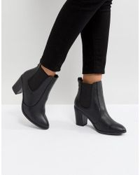 New Look | Pointed Leather Look Heeled Ankle Boot | Lyst