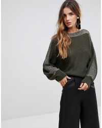 Wal-G - Batwing Sweater With Contrast Sleeve Stitch - Lyst