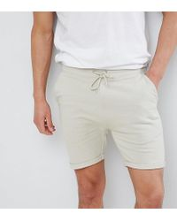 ASOS - Skinny Shorts With Turn Up Hem In Beige - Lyst