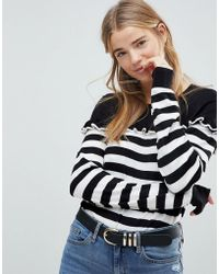B.Young - Stripe Ruffle Sweater - Lyst