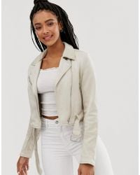 Pull&Bear - Faux Suede Biker Jacket In Cream - Lyst