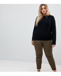 ASOS - Asos Design Curve Skinny Chino Trousers With Roll Up Hem In Khaki - Lyst