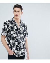 ASOS - Design Tall Oversized Hawaiian Palm Tree Shirt With Revere Collar - Lyst