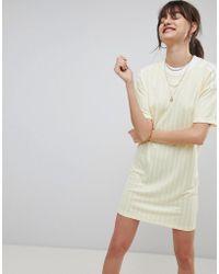 Adidas Originals Three Stripe Sweat Dress With Drop Hem in Pink - Lyst 9d025c93ed9