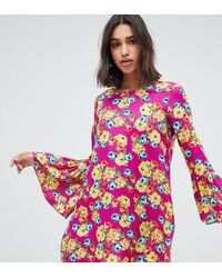 Reclaimed (vintage) - Inspired Long Sleeve Mini Smock Dress - Lyst