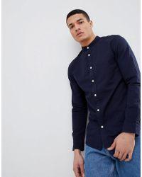 SELECTED - Seersucker Shirt With Grandad Collar - Lyst