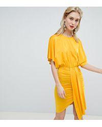 Flounce London - Drape Front Mini Dress - Lyst
