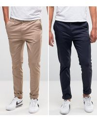 ASOS - 2 Pack Skinny Chinos In Navy & Stone Save - Lyst