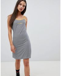 The Ragged Priest - Cami Dress In Stripe With Slogan - Lyst