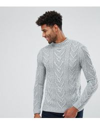 ASOS - Tall Cable Knit Jumper In Steel Blue - Lyst