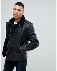 Bellfield - Leather Aviator Jacket With Borg Lining - Lyst